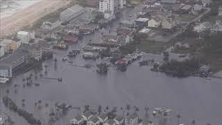 Aerial footage shows flooded Carolina Beach, NC
