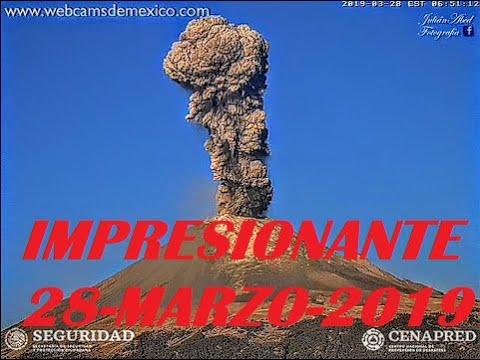 Impresionante!!! Explosión y Fumarola del Popocatépetl 28 de Marzo