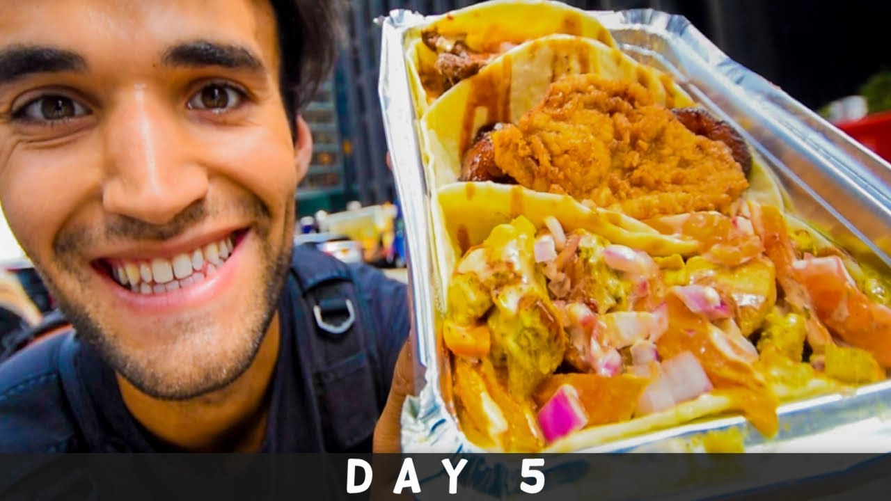 LIVING on STREET FOOD for 24 HOURS in NYC! (Day #5)