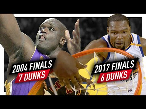 Kevin Durant 6 Dunks from 2017 Finals Game 1 vs Shaquille O'Neal 7 Dunks from 2004 Finals Game 4!