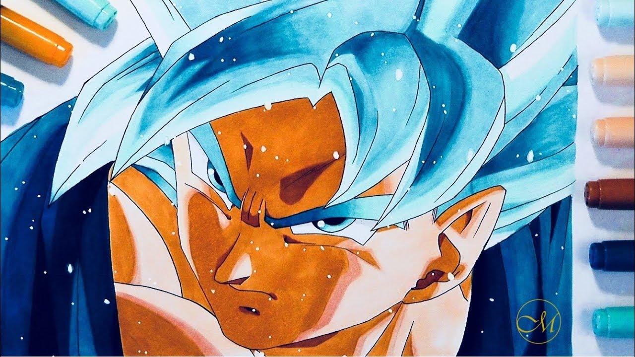 Comment dessiner goku ssj blue tuto colorisation feutres a alcool youtube - Comment dessiner goku ...