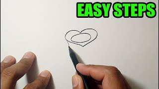 How to draw a rose from a heart | EASY TO FOLLOW