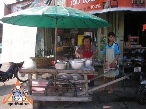 Ancient Teak Cart, Thai Street Vendor Khanom Jeen