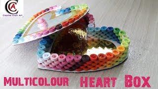 Tutorial #7 || Quilling Multi Colour Heart Box || CCA