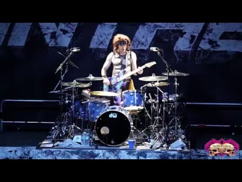 Steel Panther's Satchel rips through a guitar AND drum solo