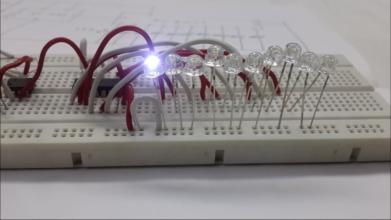 How To Make LED Chaser using 555 + 4017 IC on Breadboard - Basic ...