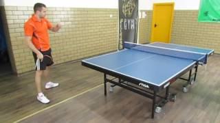Уроки настольного тенниса: топ спин справа с захода