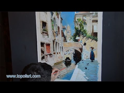 Santoro - A Woman Carrying Water beside a Venetian Canal | Art Reproduction Oil Painting