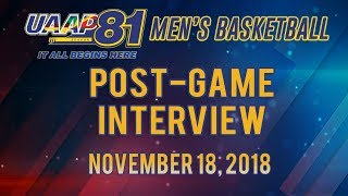 UAAP 81 MB: Post-game Interview | November 18, 2018