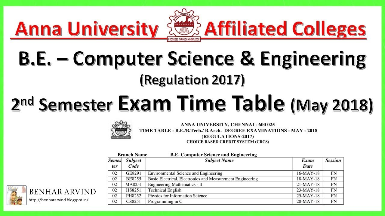 Anna University Timetable Pdf