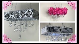 DOLLAR TREE DIY GLAM AND BLINGY CHANDELIER USING DOLLAR TREE ITEMS 3 DIFFERENT STYLES