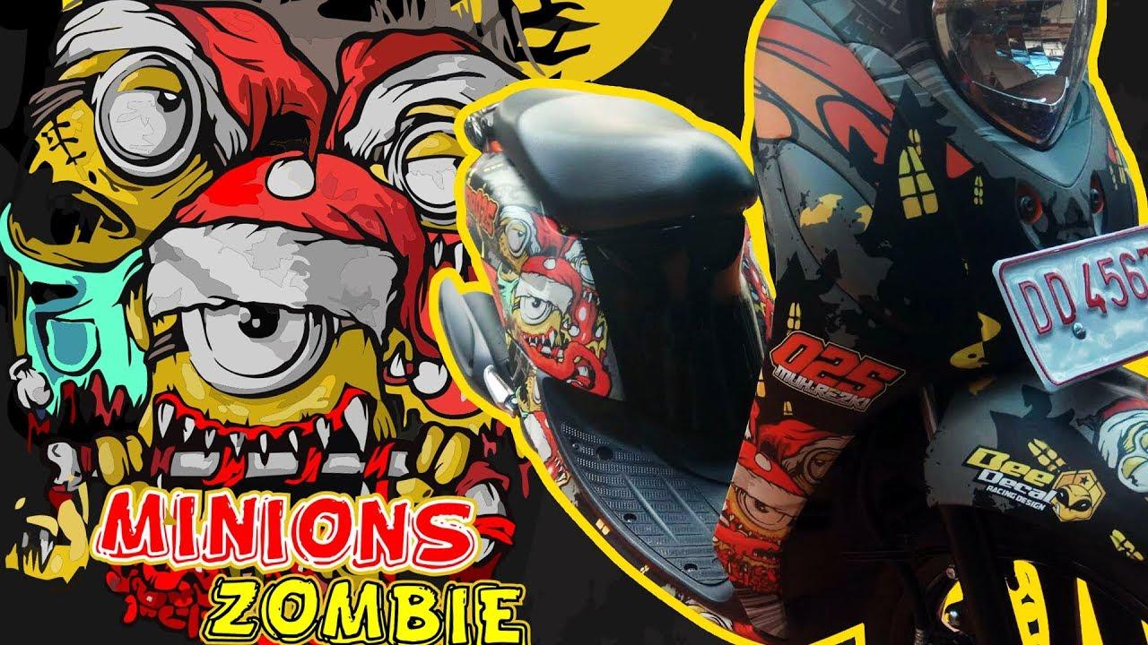 Modifikasi Stiker Motor Yamaha Fino FI Minion Zombie