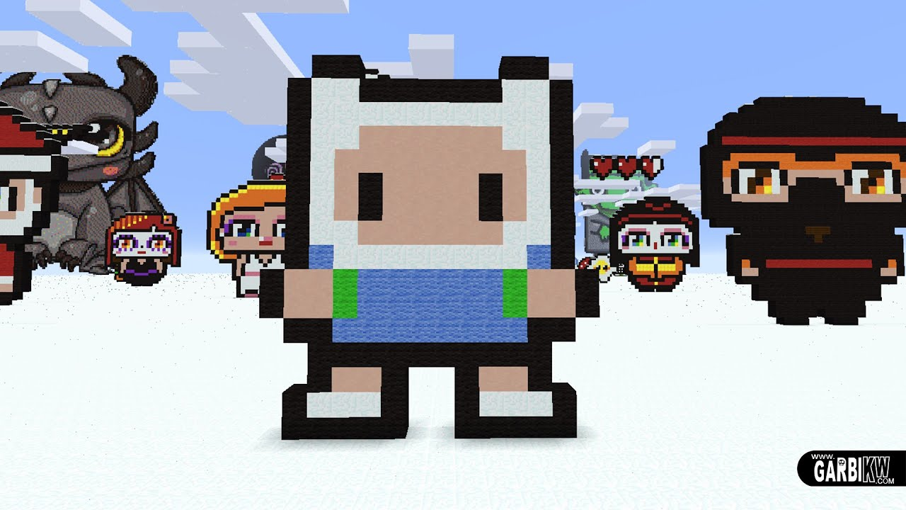 Hello Kitty Houses Minecraft Pixel Art How To Make Finn The Human By Garbi