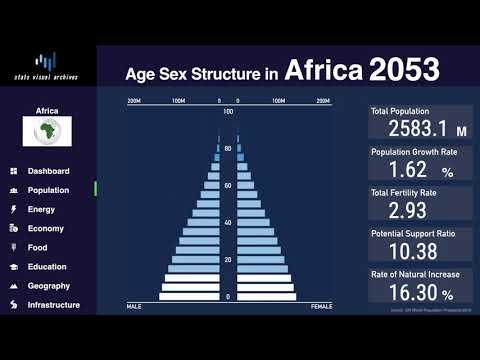Africa - Changing Of Population Pyramid & Demographics (1950-2100)