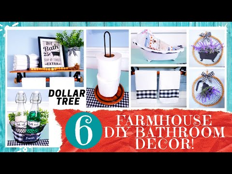 6-dollar-tree-farmhouse-bathroom-diys- -art- -wood-shelf- -towel-bar- -toilet-paper-holder-&-more!