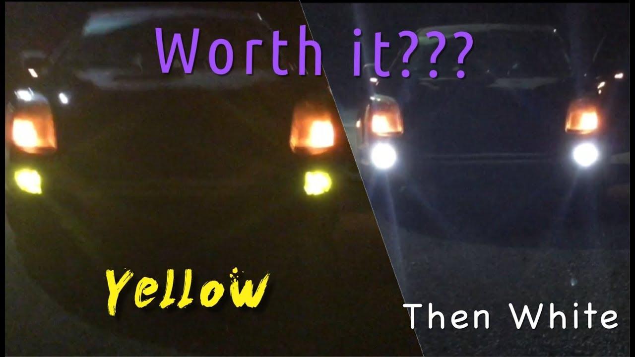 Halogen Light Vs Led >> DUAL COLOR (yellow & white) Led Fog light Review - Led VS Stock Halogen bulbs - YouTube