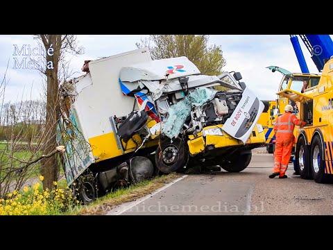 BERGING : Vrachtwagen tegen boom en in sloot 🚚
