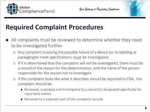 Medical Device Complaint Handling: MDR, Reports of Removals and Corrections