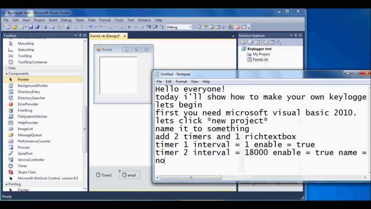 How to make a email sending Keylogger in visual basic 2010