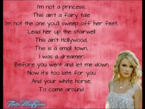 White Horse - Taylor Swift (lyrics on screen and in description)