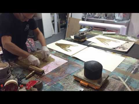 Making of monotype-prints with plastic bags 1