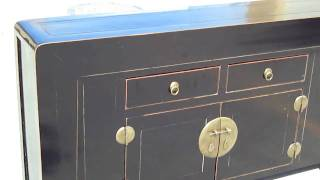 Black Chinese Moon Face Buffet Console Table Cabinet Wk1913