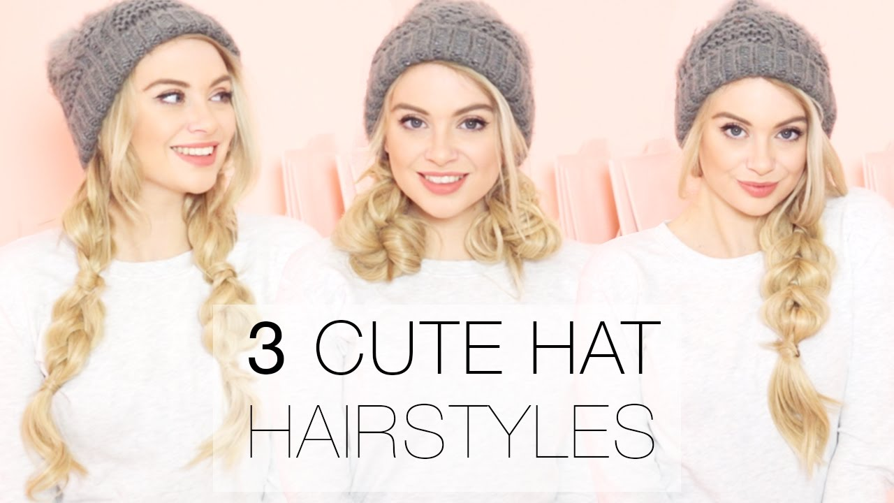 3 cute winter hat hairstyles using hair extensions l milk + blush