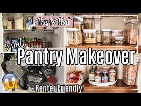 NEW! SMALL PANTRY MAKEOVER 2020 :: CLEAN DECLUTTER ORGANIZE WITH ME :: RENTER FRIENDLY ON A BUDGET!