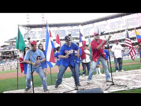 Los Brothers Band singing in phillies game