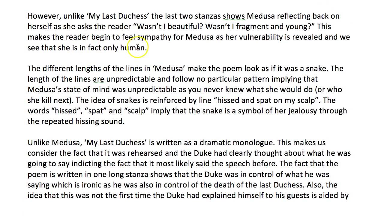 my last duchess essay compare my last duchess and medusa from the relationships cluster aqa poetry