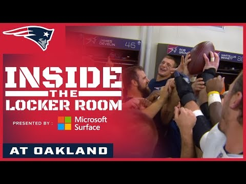 Inside the Patriots locker room celebration after the win over the Raiders