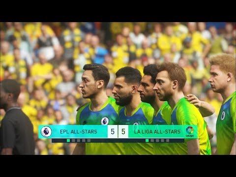 Premier league all stars vs la liga all stars i pes 2018 penalty shootout