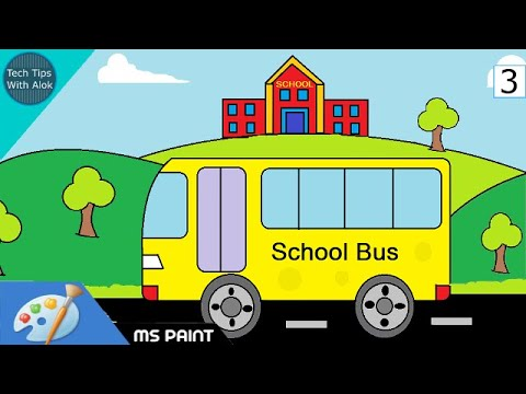 how to draw school and bus in ms paint youtube
