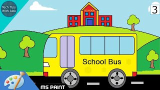 How to Draw School and Bus in MS Paint