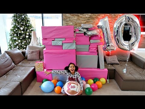 Tiana's 10th Birthday Party Opening Presents! Giant LOL Surprise Cake