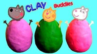 clay buddies peppa pig surprise eggs blind bags play doh sorpresa huevos nickelodeon