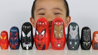 Spider Man And Iron Man Surprise Nesting Dolls Opening Fun With Ckn Toys