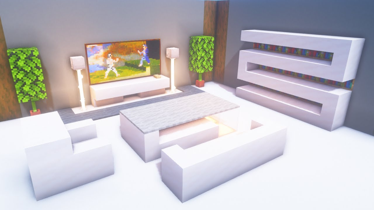 Minecraft Modern Living Room Build Tutorial Youtube