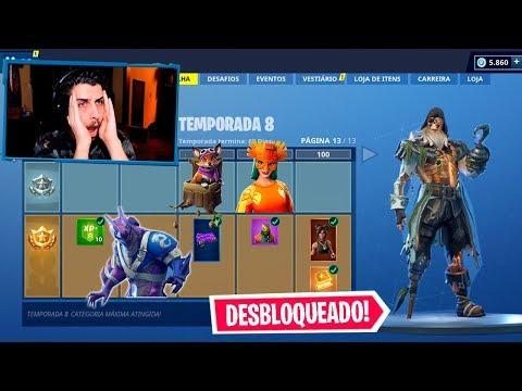 COLOQUEI O *NOVO* PASSE DE BATALHA NA CATEGORIA 100! - FORTNITE TEMPORADA 8 thumbnail