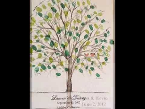 Oak Wedding Thumbprint Guestbook Trees @ fourch.etsy.com
