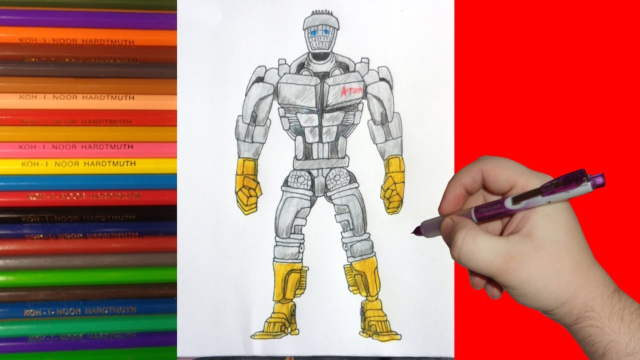 How To Draw Robot Atom Real Steel Как нарисовать робота