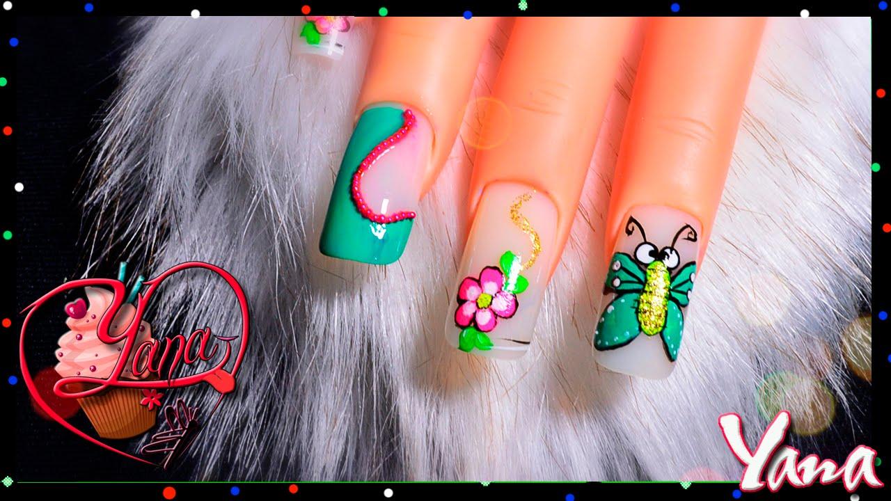 Decorado de u as mariposita yana nail art youtube - Decorados de unas ...