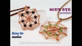 Square pendant inspired God's eye craft - Handmade jewelry from copper wire and abacus crystal 497