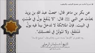 شرح حديث (ﻻ ﻳﻨﻘﻊ ﺑﻮﻝ ﻓﻲ ﻃﺴﺖ ﻓﻲ اﻟﺒﻴﺖ ﻓﺈﻥ اﻟﻤﻼﺋﻜﺔ ﻻ ﺗﺪﺧﻞ ﺑﻴﺘﺎ ...) الشيخ سليمان الرحيلي حفظه الله