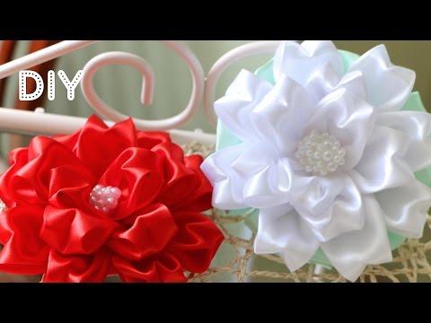 Бант Цветок из ленты. Мастер-класс / Tutorial: Ribbon Bow-Flower/ Kanzashi DIY