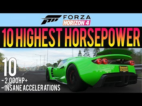 Forza Horizon 4 - 10 Highest HP Cars In The Game! - 2,000HP+ INSANE Accelerations thumbnail