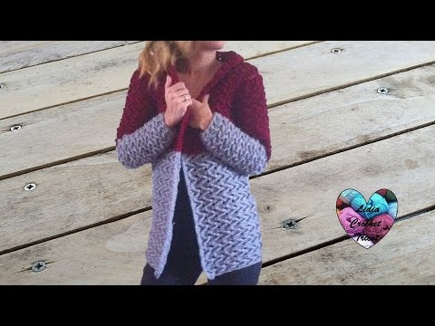 Cardigan veste manteau femme crochet 1/3 / Woman cardigan crochet all sizes (english subtitles)