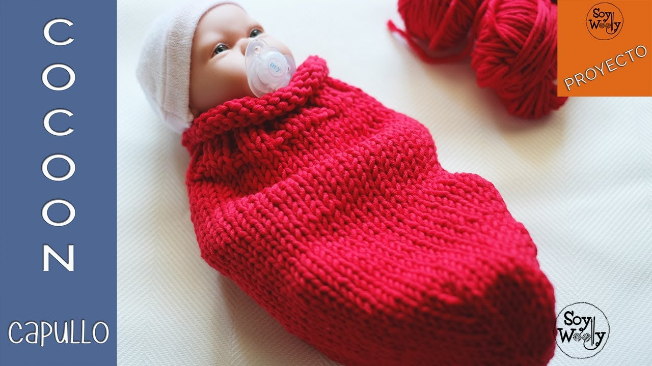 Cocoon-Capullo-Portabebé para recién nacido tejido en dos agujas-Soy ...