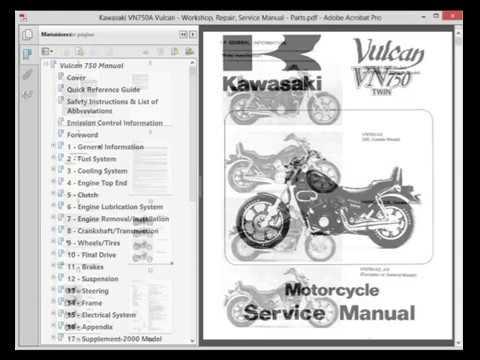 kawasaki vn750a vulcan workshop repair service manual parts rh youtube com vulcan s service manual pdf vulcan 1500 service manual