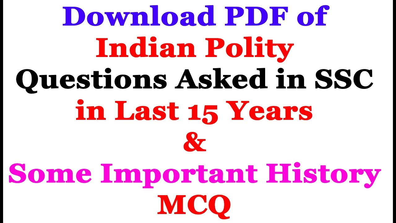 Download Pdf of Last 15 Years Polity Questions(Hindi ...